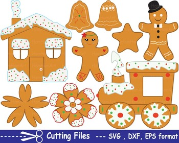 Christmas Cookie EPS SVG DXF santa food clip cutting cut monogram santa tree 16S
