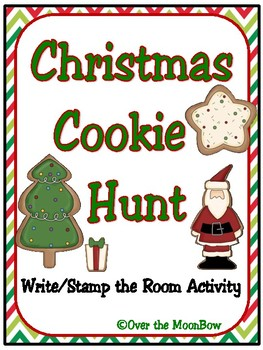 Christmas Cookie Hunt Write / Stamp the Room Spelling Vocabulary Game