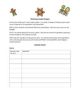 Christmas Cookie Math Activity (Editable)