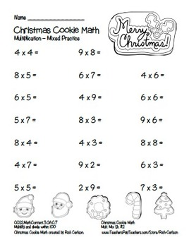 """Christmas Cookie Math"" Mixed Multiplication - Common Core - Fun! (black line)"