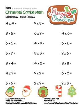 """Christmas Cookie Math"" Mixed Multiplication - Common Core! (black line & color)"