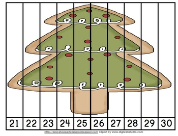 Christmas Cookie Number Order and Skip Counting Puzzles