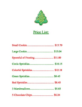 Christmas Cookie Price List