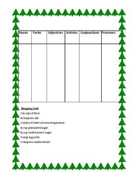 Christmas Cookie Recipe - Grammar (Parts of Speech) Activity