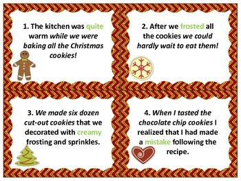 Christmas Cookie SCOOT: Sentence Types and Structures, Clauses, Parts of Speech