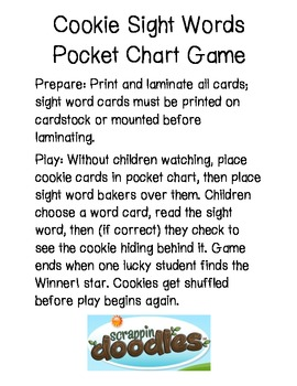 Christmas Cookie Sight Words Pocket Chart Game