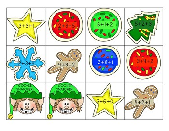 Christmas Cookie Snatcher 3 Addend Addition Game