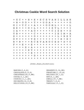 """""""Christmas Cookie"""" Word Search – Holiday Fun! (Color and Black Line)"""