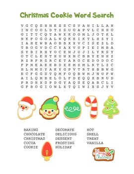 """Christmas Cookie"" Word Search – Holiday Fun! (Color and Black Line)"
