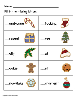Language Arts - Missing Beginning Sounds Christmas Themed Worksheet