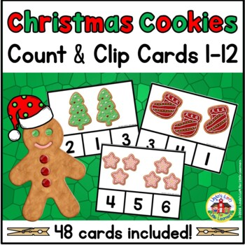 Christmas Cookies Count and Clip Cards 1-10