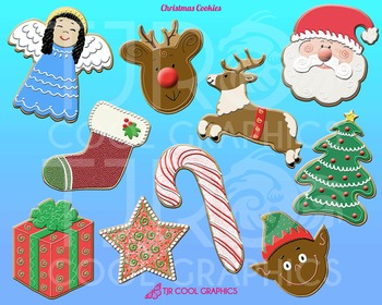 Christmas Cookies Digital Clip Art, Printable, Santa, Rein