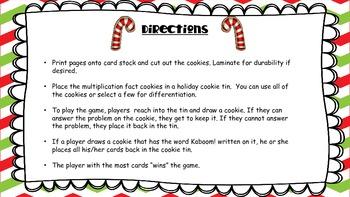 Kaboom Multiplication Game - Cookies for Santa Multiplication Fact Fluency