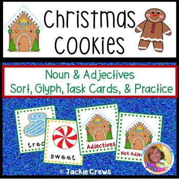 Christmas Cookies: Noun & Adjective Sorting Cards, Glyph, and Task Cards