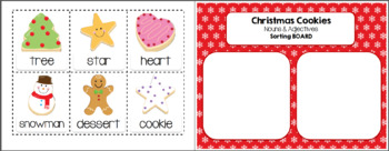 Christmas Cookies Nouns and Adjectives Printable Pack