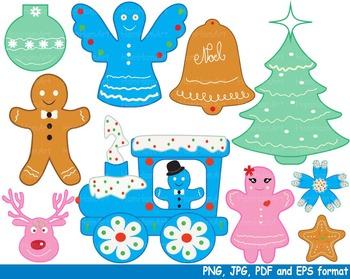 Christmas Cookies Reward Clipart school santa tree train baking food treats -140