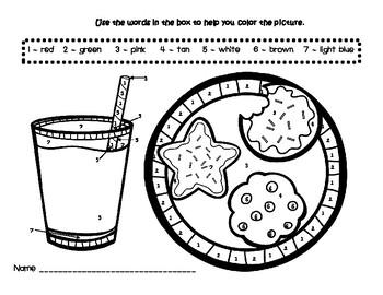 Christmas Cookies and Milk Color by Number Printable Worksheet