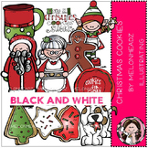 Christmas Cookies clip art - BLACK AND WHITE- by Melonheadz