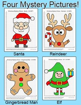 Christmas Math Coordinate Graphing: Santa, Reindeer, Elf, Gingerbread Man
