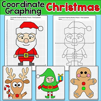 Christmas Math Coordinate Graphing Pictures - Santa, Elf, Gingerbread Man