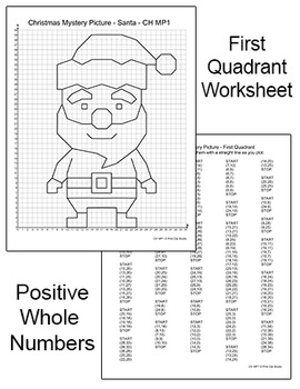 Coordinate Graphing - first quadrant only - no decimals - Santa 2 more