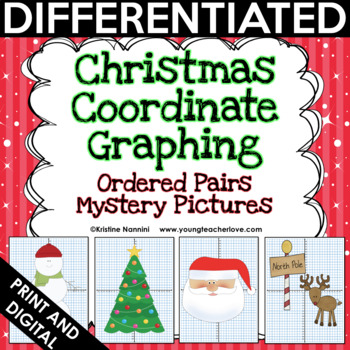 Christmas Coordinate Graphing Pictures Ordered Pairs | Math Mystery Pictures