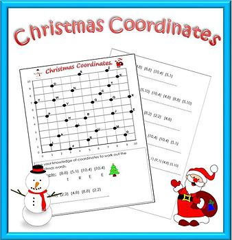 Christmas Math Worksheet: Coordinates Code.