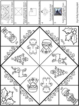 Christmas Cootie Catchers/Fortune Tellers: spelling, math and beginning sounds