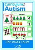 Christmas Math Count 1-10 How Many? Clip Cards + Write & Wipe, Autism
