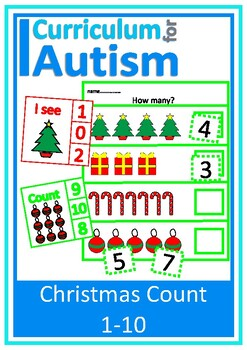 Christmas Math Count 1-10 How Many? Clip Cards + Write & W
