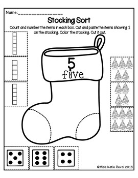 Christmas Count, Cut, and Paste Number Sort 1-5 Worksheets (Stockings) for PK-K