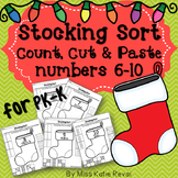 Christmas Count, Cut, and Paste Number Sort 6-10 Worksheets (Stockings) for PK-K