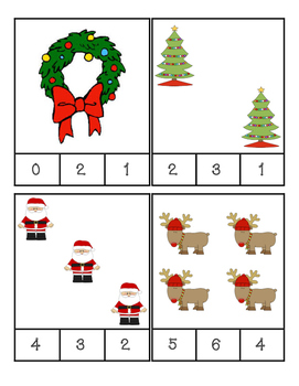 Christmas - Math - Count and Clip Cards #1-24
