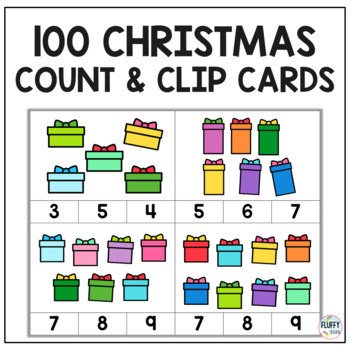 Christmas Count and Clip Cards : 70 Fun Christmas Counting Clip Cards