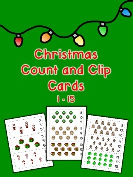 Christmas Count and Clip Cards - Set of 15
