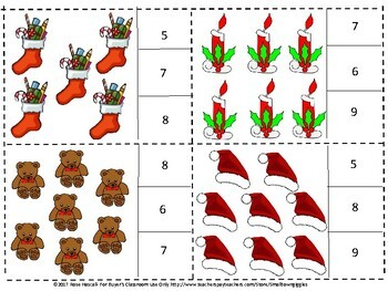 Christmas Math Center Count Clip Cards Fine Motor Special Education, Autism