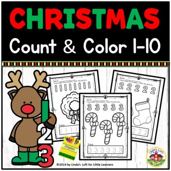 Christmas Count and Color Printables 1-10