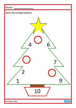 Christmas Math Count to 10 Missing Numbers, Autism , Special Education