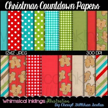Christmas Countdown 12x12 Digital Paper (18 Pack)