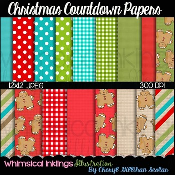 Christmas Countdown 12x12 Digital Paper (18 Pack)