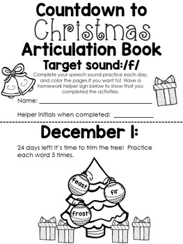 Christmas Countdown Articulation Book Bundle with holiday-themed vocabulary