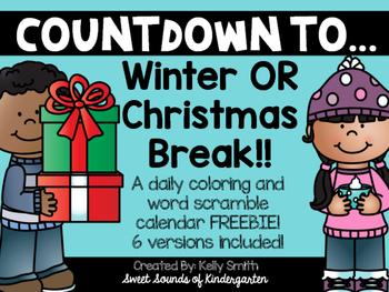 Winter Break Countdown FREEBIE!!