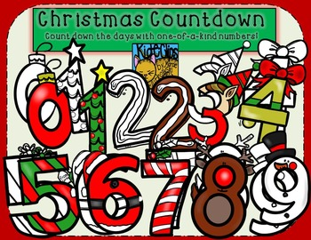 Christmas Countdown Holiday Number Clip Art by Kid-E-Clips Personal Commercial