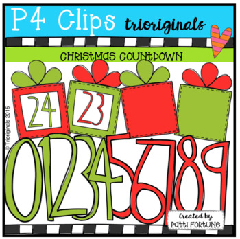 Christmas Countdown {P4 Clips Trioriginals Digital Clip Art}