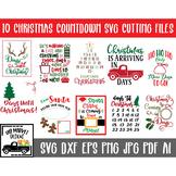 Christmas Countdown SVG Cut file Bundle - 10 Countdown Calendars