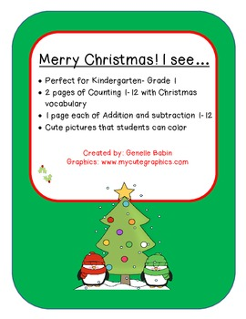 Christmas Counting-Addition-Subtraction to 12 Kindergarten-Grade 1