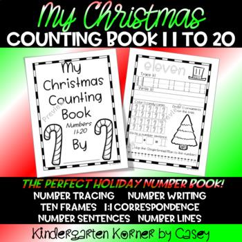 Christmas Counting Book Number Sense Writing 11-20 Kindergarten Winter Math