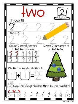 Christmas Counting Book Number Sense Writing 1-10 Kindergarten Winter Math