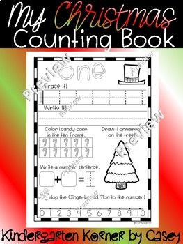 Christmas Counting Book Number Sense Writing 1-10 Kindergarten Winter Math