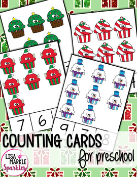 Christmas Counting Cards for Preschool Math Center